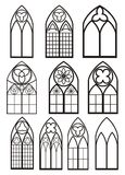 Windows in gothic style. Silhouette windows in gothic style for design