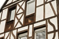 Windows of an half-timbered house Moselkern, Germany royalty free stock photography