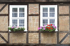 Windows on a half-timbered house Royalty Free Stock Photo