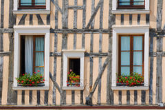 Windows in half-timbered house Royalty Free Stock Images