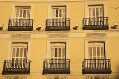 Windows of historic building in Madrid Stock Photos