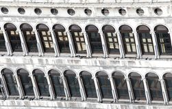 Windows in the historic palace in saint Mark Square in Venice Royalty Free Stock Photography