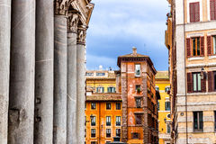 Windows of historical building in the center of Rome Stock Image
