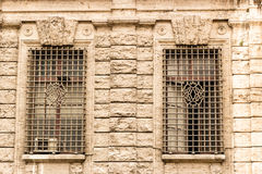 Windows of historical building in the center of Rome Royalty Free Stock Photo
