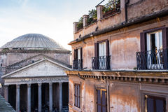 Windows of historical building in the center of Rome Royalty Free Stock Images