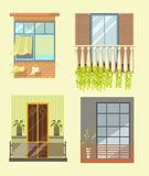 Windows and house balcony different stlyes exterior decor vector flat icons Stock Photos