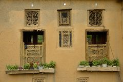 Windows of house in Masuleh village Royalty Free Stock Photography
