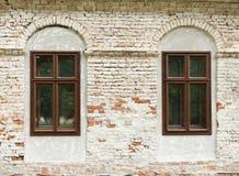 Windows of the house. With three black windows Royalty Free Stock Photos