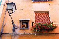 Windows at a house wall in Florence, Italy Stock Photography