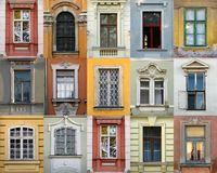 Windows of Hungary (Szekesfehervar). 15 windows on one picture Royalty Free Stock Photo