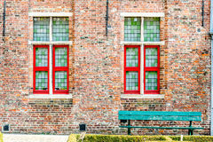 Windows i ławka Obrazy Stock