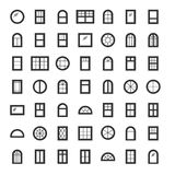 Windows icon collection. Set of line window contours isolated on Stock Photo