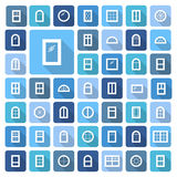 Windows icon collection. Vector illustration of flat colored pic. Windows. Architecture elements. Flat colored icons with long shadows. Traditional, french, arch Stock Illustration