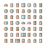 Windows icon collection. Vector illustration of flat colored pic Royalty Free Stock Image