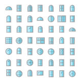 Windows icon collection. Vector illustration of flat colored pic. Windows. Architecture elements. Flat colored icons. Traditional, french, arch and round window Royalty Free Illustration