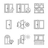 Windows icon set with door and balcony. Lines design isolated on white background Royalty Free Stock Photography