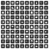 100 windows icons set black. 100 windows icons set in black color isolated vector illustration Stock Photography