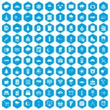 100 windows icons set blue. 100 windows icons set in blue hexagon isolated vector illustration Royalty Free Stock Image