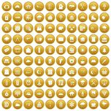 100 windows icons set gold. 100 windows icons set in gold circle isolated on white vectr illustration Royalty Free Stock Photography