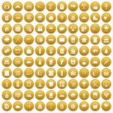 100 windows icons set gold. 100 windows icons set in gold circle isolated on white vectr illustration stock illustration