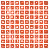 100 windows icons set grunge orange. 100 windows icons set in grunge style orange color isolated on white background vector illustration Stock Images
