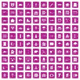 100 windows icons set grunge pink. 100 windows icons set in grunge style pink color isolated on white background vector illustration Royalty Free Stock Images