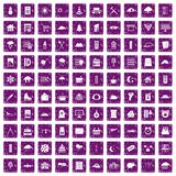 100 windows icons set grunge purple Stock Images