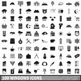 100 windows icons set, simple style. 100 windows icons set in simple style for any design vector illustration Royalty Free Stock Images