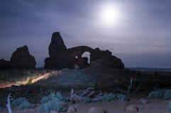 Windows incurva il parco nazionale alla notte Fotografia Stock