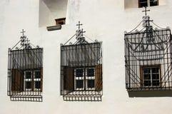 Windows with Iron Grates - Engadine Switzerland Royalty Free Stock Photos