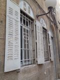 Windows of Jerusalem. Orient windows stone houses Stock Photos