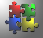 Windows jigsaw. 4 jigsaw pieces with windows colour Royalty Free Stock Images
