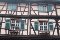 Windows in Kaysersberg the typical alsatian village in Stock Images