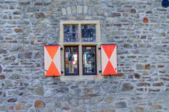 Windows with leaded glass. Historic window of a castle with stained glass Royalty Free Stock Image