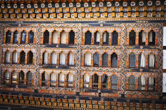 Windows of Lhuentse Dzong in Eastern Bhutan - Asia Royalty Free Stock Images