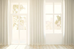Windows and light curtains Royalty Free Stock Image
