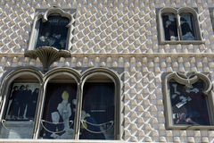 Windows of Lisbon. Detail of the windows of the façade of the Casa dos Bicos, a national monument in Lisbon royalty free stock photo