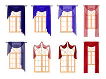 Windows with luxury red and blue curtains. Isolated on white background. Windows with luxury red and blue curtains. 3D image isolated on white background vector illustration
