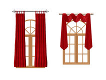 Windows with luxury red curtains. 3D image isolated on white. Windows with luxury red curtains. 3D image isolated on white background vector illustration