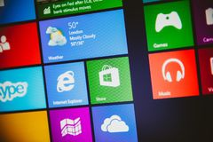 Windows 10 main screen with all apps running in Metro interface. PARIS, FRANCE - JAN 26, 2015: Windows 10 main screen with all apps running in Metro interface royalty free stock image