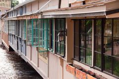 Windows in Manitou Springs, Colorado. Open windows along the back of a row of restaurants in Manitou Springs, Colorado Stock Photography