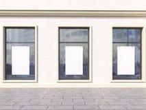 Windows med affischer vektor illustrationer