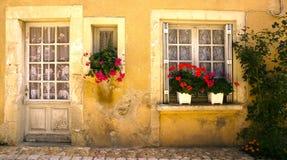 Windows med blommor Sanktt Jean de Cole Frankrike arkivfoton