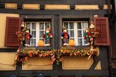 Windows med dockan och blomman Arkivbilder