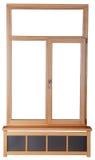 Windows med exponeringsglas och ramen av en trästråle. Royaltyfria Bilder