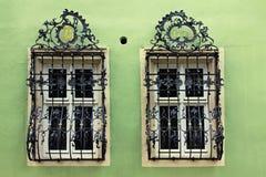 Windows med härliga krökta svarta galler för en metall, Tyskland arkivfoton
