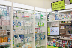 Windows with medicines at the drug store Royalty Free Stock Image