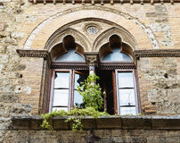 Windows on medieval brick wall Royalty Free Stock Image