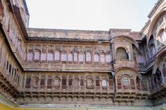 Windows Mehrangarh fort, Rajasthan, Jodhpur, India Fotografia Stock