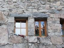 Windows on mountain hut Murowaniec in High Tatras, Poland Royalty Free Stock Photography